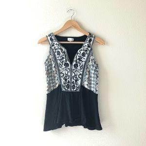 Anthropologie Meadow Rue Mirella embroidered tank